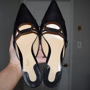 Cole Haan Black Pointed Toe Kitten Heel